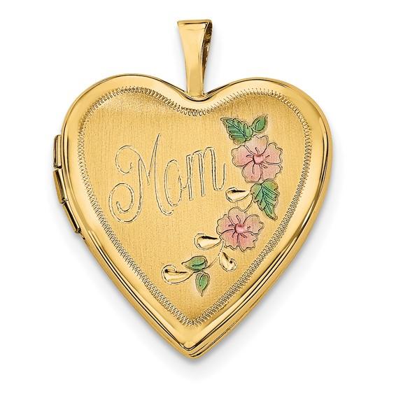 14kt Yellow Gold 20mm Enamel Flowers Mom Heart Locket
