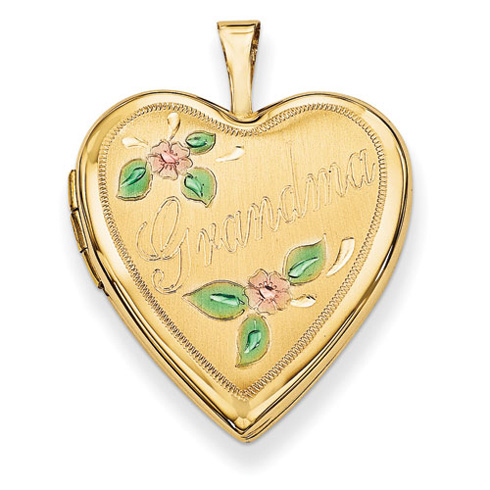 14kt Yellow Gold 20mm Enamel Flowers Grandma Heart Locket