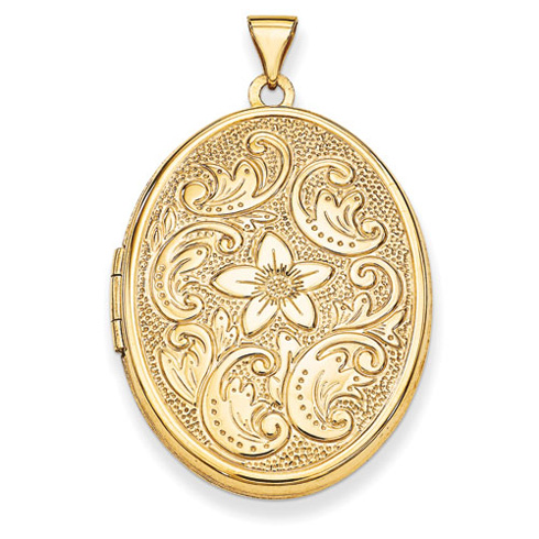 14kt Yellow Gold 1 1/4in Oval Flower With Scrolls Locket