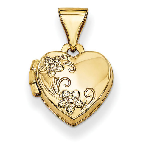 14kt Yellow Gold 10mm Floral Heart Locket