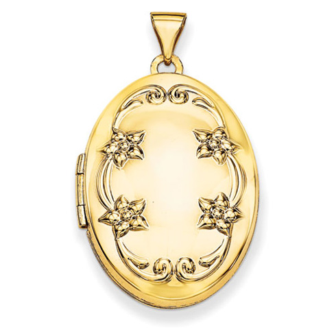 14kt Yellow Gold 1in Oval Floral Scroll Border Locket