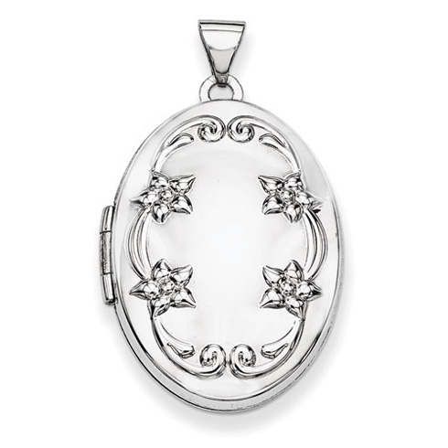 14kt White Gold 1in Oval Floral Scroll Border Locket