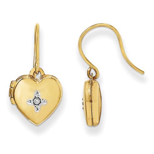 14kt Yellow Gold 10mm Heart Locket with Diamond Earrings