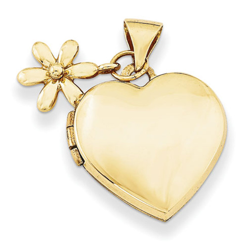 14kt Yellow Gold 15mm Heart with Flower Dangle Locket