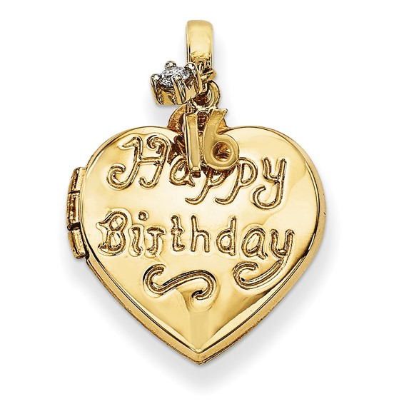 14kt Yellow Gold 15mm Heart Happy 16th Birthday with CZ Locket