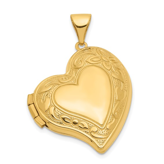 14kt Yellow Gold 18mm Curved Heart Locket