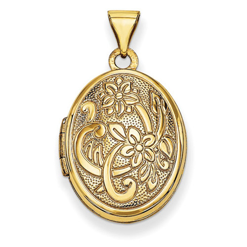 14kt Yellow Gold 19mm Oval Flower with Scroll Locket