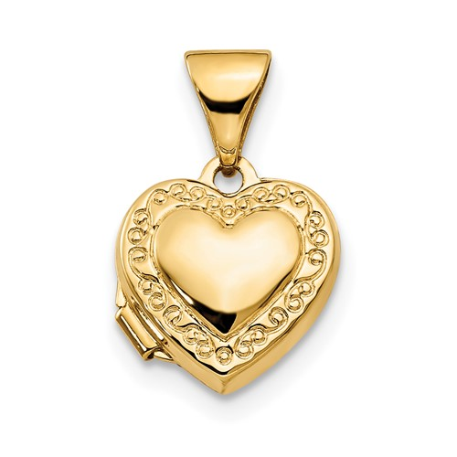 14kt Yellow Gold 10mm Heart Scrolled Locket