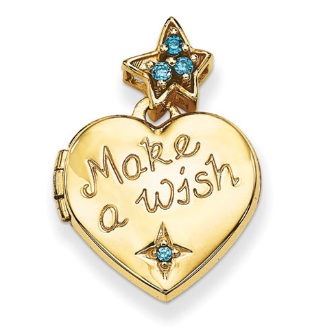 14kt Yellow Gold 15mm Heart with Blue CZ Make a Wish Locket