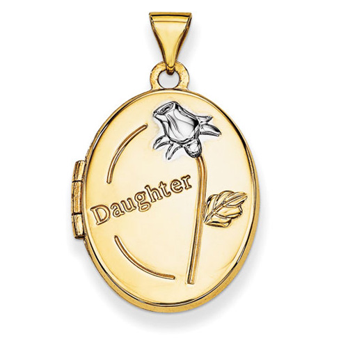 14kt Yellow Gold with Rhodium 21mm Oval Daughter Locket