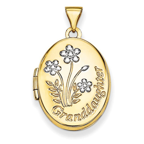 14kt Yellow Gold with Rhodium 21mm Oval Granddaughter Locket