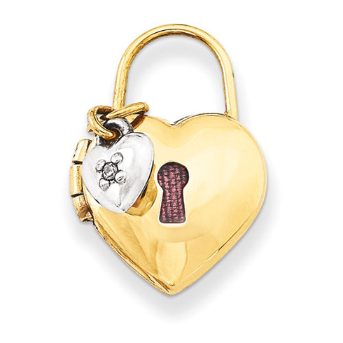 14kt Two-tone Gold 12mm Padlock Heart with Diamond Locket