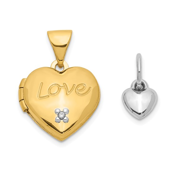 14k Two-tone Gold 12mm Heart with Diamond Locket