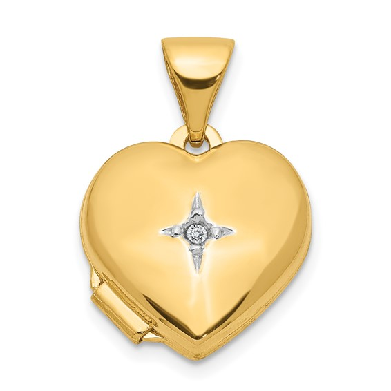 14kt Yellow Gold 12mm Heart with Diamond Locket