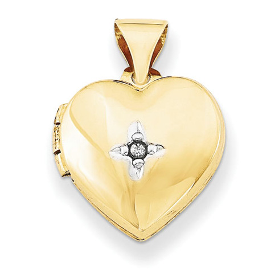 14kt Yellow Gold 12mm Heart with Diamond Locket