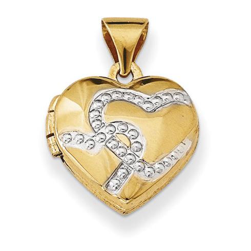 14kt Yellow Gold with Rhodium 12mm Heart Locket