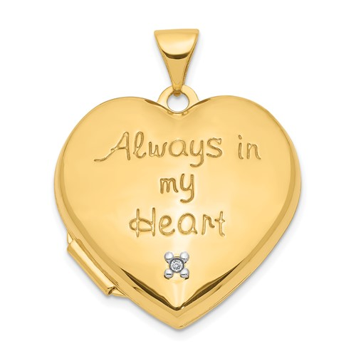 14kt Yellow Gold 21mm Always in my Heart Locket with Diamond