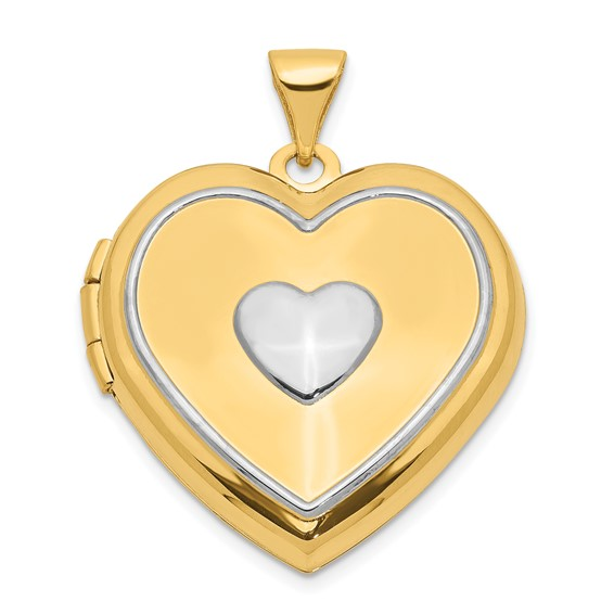 14kt Two-tone Gold 21mm Heart Locket