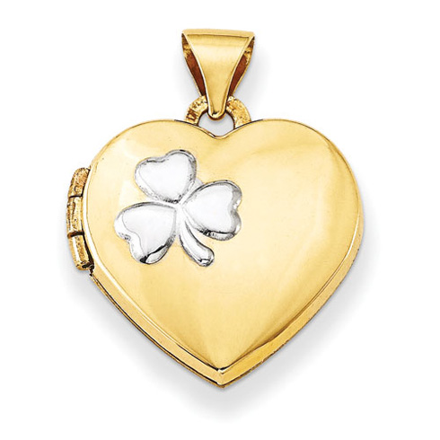 14kt Yellow Gold with Rhodium 15mm Heart Locket