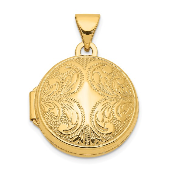 14kt Yellow Gold 16mm Round Locket with Scroll Design