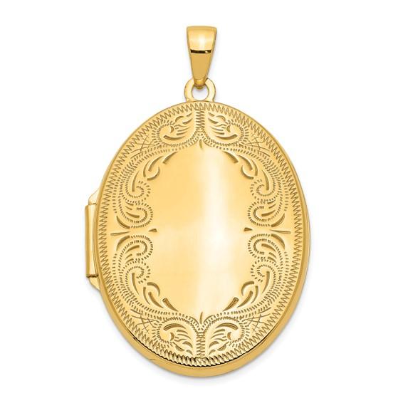14kt Yellow Gold 1 1/4in Oval Fancy Scroll Locket