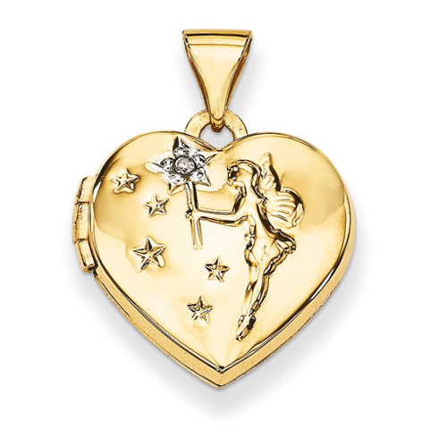 14kt Yellow Gold 15mm Heart with Diamond Fairy Wishes Locket