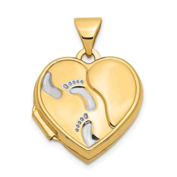 14kt Yellow Gold Rhodium 15mm Heart Foot Prints Locket
