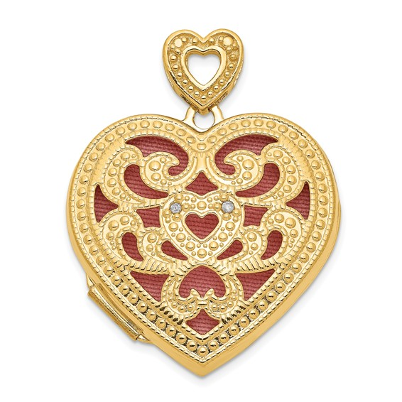 14kt Yellow Gold 1in Heart with Diamond Vintage Locket