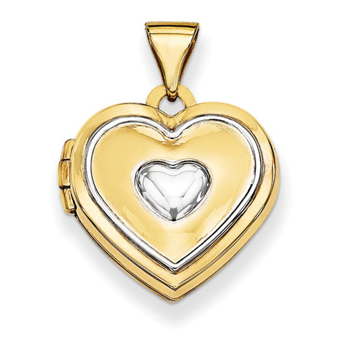 14kt Yellow Gold with Rhodium 5/8in Heart Locket