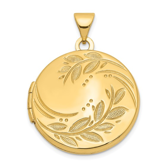14kt Yellow Gold 20mm Round Leaf Floral Locket