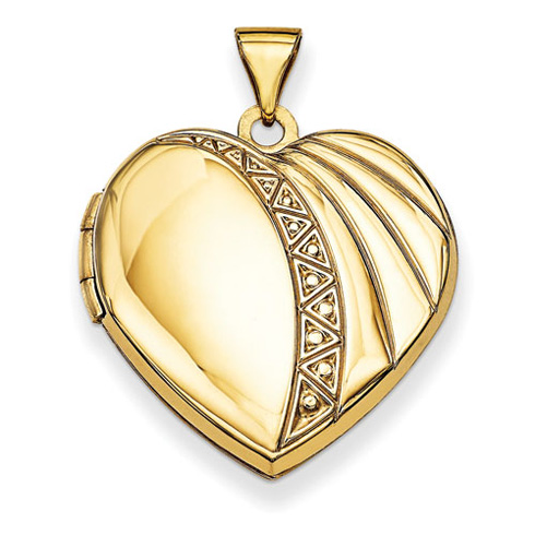 14kt Yellow Gold 7/8in Heart Locket with Geometric Design