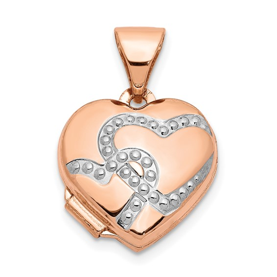 14kt Rose Gold with Rhodium 12mm Heart Locket