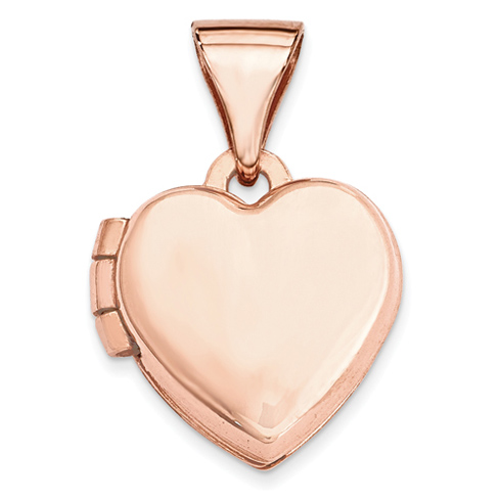 14kt Rose Gold 10mm Plain Heart Locket