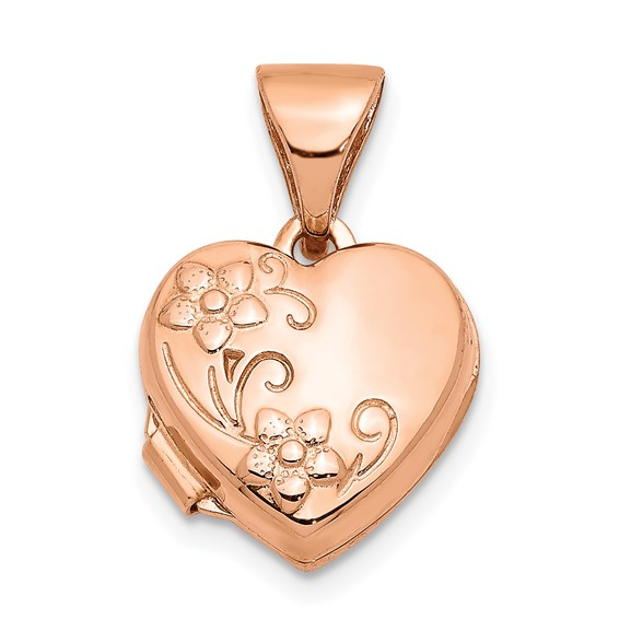 14kt Rose Gold 10mm Floral Heart Locket