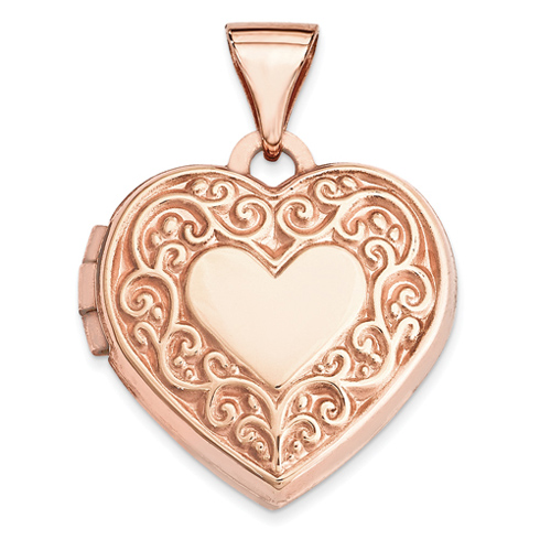 14kt Rose Gold 15mm Scroll Heart Locket