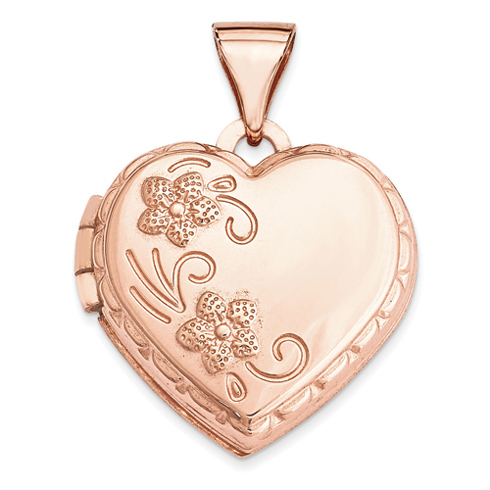 14kt Rose Gold 15mm Domed Heart Locket