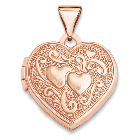 14kt Rose Gold 15mm Heart Locket