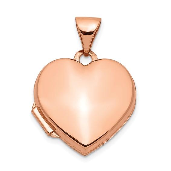 14kt Rose Gold 15mm Plain Heart Locket