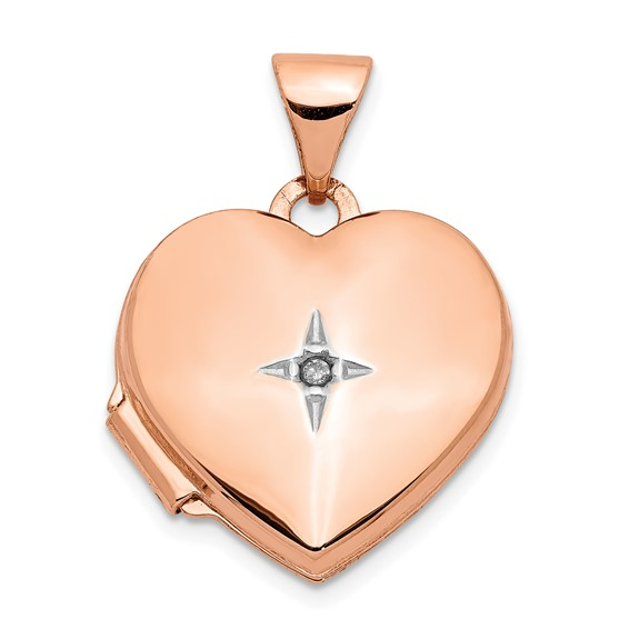 14kt Rose Gold Polished 15mm Heart with Diamond Locket