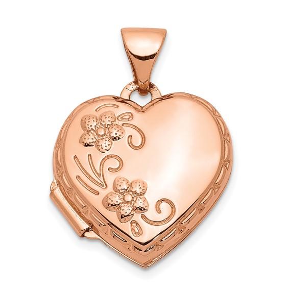 14kt Rose Gold 15mm Reversible Heart Locket