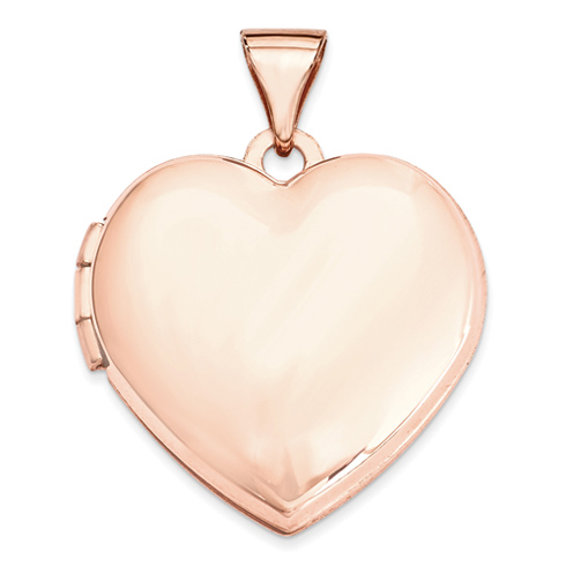 14kt Rose Gold 18mm Domed Heart Locket