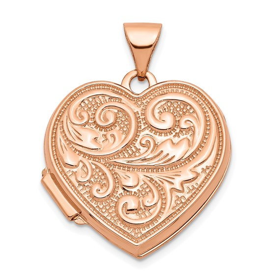 14kt Rose Gold 18mm Scrolled Love you always Heart Locket