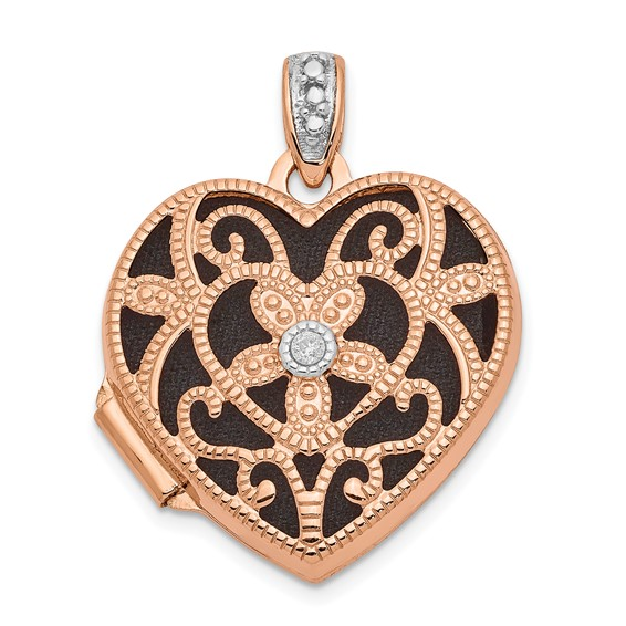 14kt Rose Gold 18mm Vintage Heart with Diamond Locket