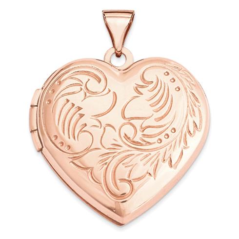 14kt Rose Gold 21mm Domed Heart Locket