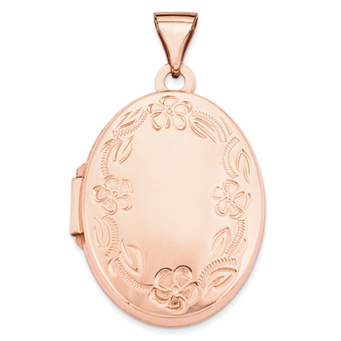 14kt Rose Gold 21mm Oval Leaf Floral Scroll Border Locket