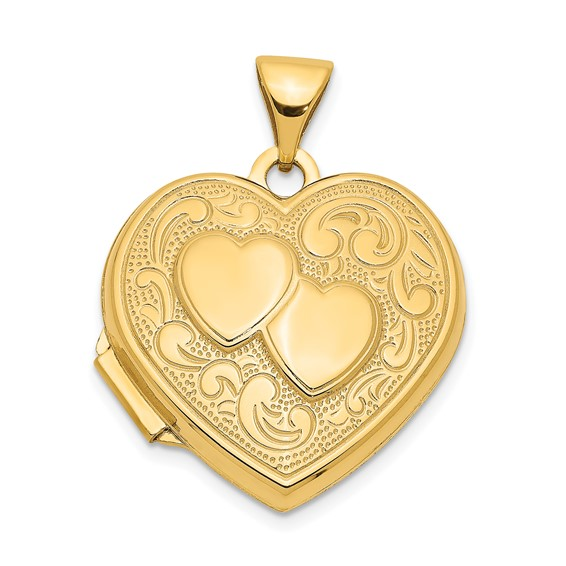 14kt Yellow Gold 18mm Double Heart Locket