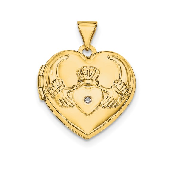 14kt Yellow Gold 5/8in Claddagh Heart Diamond Locket