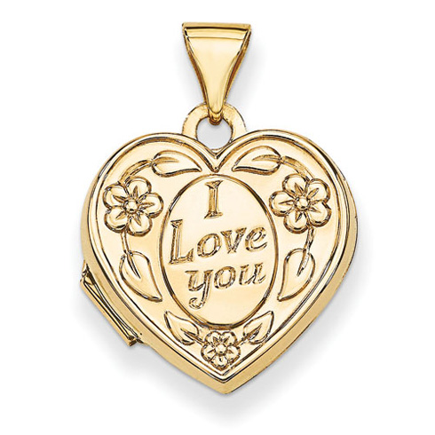 14kt Yellow Gold 15mm I Love You Heart Locket