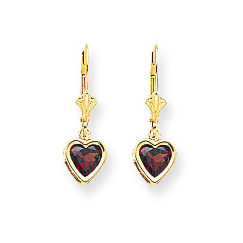 14kt Yellow Gold 1.6 ct Heart Garnet Leverback Earrings