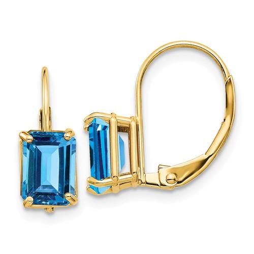 14k Yellow Gold 2.6 ct tw Emerald-cut Blue Topaz Leverback Earrings